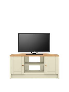 Very  Alderley Ready Assembled Cream Corner Tv Unit - Cream/Oak Effect - Fits Up To 48 Inch