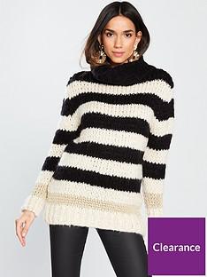 river-island-river-island-roll-neck-stripe-jumper-black