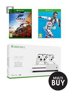 xbox-one-s-1tb-console-with-dual-controller-fifa-19-forza-horizon-4nbspandnbspoptional-extras