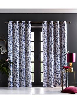 Oasis Home Oasis Home Amelia Eyelet Curtains In Indigo Picture