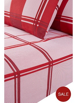 everyday-collection-brushed-cotton-check-fitted-sheet-red