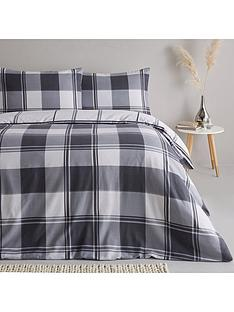 everyday-collection-brushed-cotton-check-duvet-cover-set-grey