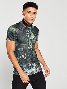 river-island-dark-floral-muscle-fit-print-polo-top-black