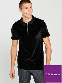 river-island-slim-fit-velour-zip-up-front-polo-shirt-black