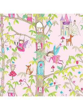 ARTHOUSE Arthouse Woodland Fairies Pink Wallpaper Picture