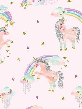 ARTHOUSE Arthouse Rainbow Unicorn Wallpaper Picture