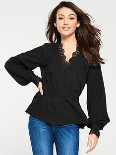 michelle-keegan-lace-trim-blouse-black