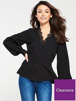michelle-keegan-lace-trim-blouse-black