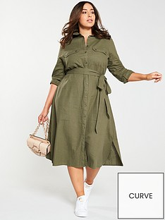 cd77e8516719f3 V by Very Curve Button Through Linen Shirt Dress - Khaki