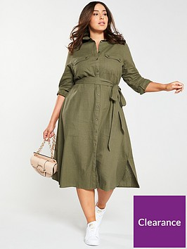 v-by-very-curve-button-through-linen-shirt-dress-khaki
