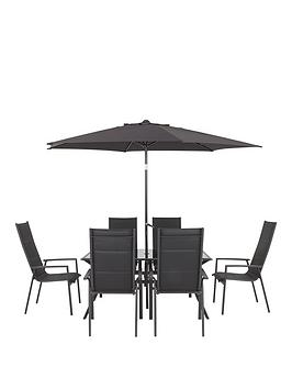 Very  Costa Rica Textoline 6 Seater Padded Dining Set