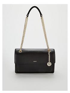043f2c72e54 DKNY Bryant Chain Sutton Leather Flap Large Crossbody Bag - Black Gold