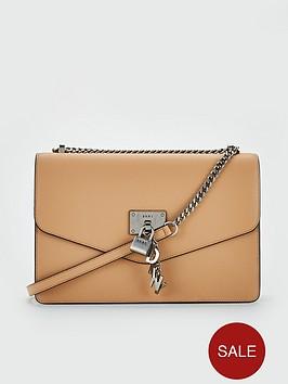 649bc28b0 DKNY Elissa Caviar Leather Flap Large Shoulder Bag - Latte | littlewoods.com