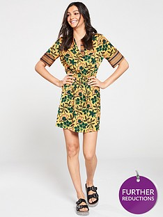 maison-scotch-mixed-print-dress-with-drawcord-waistband-printed