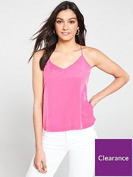 maison-scotch-cami-top-with-jersey-back-panel-pink