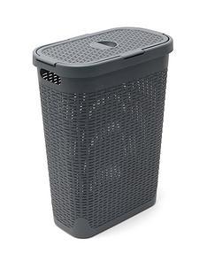 addis-faux-rattan-40ltr-slim-laundry-hamper