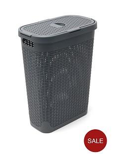 addis-faux-rattan-slim-40-litre-laundry-hamper