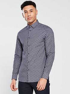 ted-baker-long-sleeve-geometric-printed-shirt-navy
