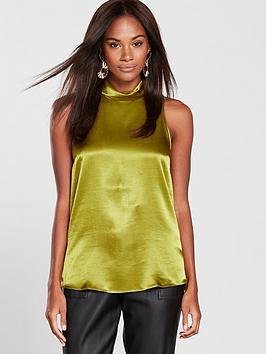river-island-roll-neck-woven-top-chartreuse