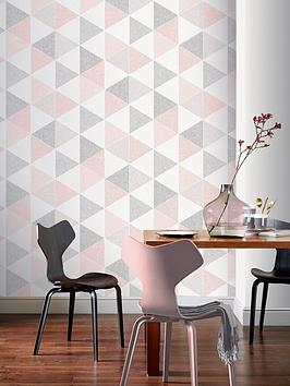 ARTHOUSE Arthouse  Scandi Triangle Wallpaper &Ndash; Pink Picture