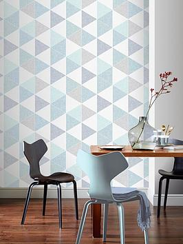 ARTHOUSE Arthouse Scandi Triangle Wallpaper &Ndash; Teal Picture
