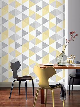 ARTHOUSE Arthouse Scandi Triangle Wallpaper &Ndash; Yellow Picture