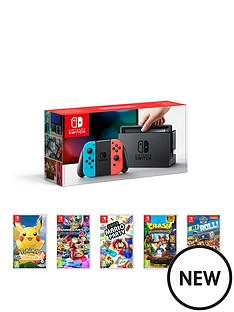 nintendo-switch-neon-console-with-pokemon-lets-go-pikachu-mario-kart-8-deluxe-super-mario-party-crash-bandicoot-and-paw-patrol-on-a-roll