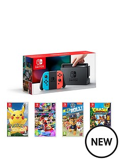 nintendo-switch-neon-console-with-pokemon-lets-go-pikachu-mario-kart-8-deluxe-crash-bandicoot-and-paw-patrol-on-a-roll