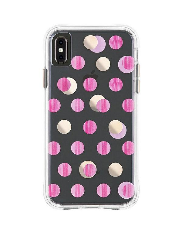 Wallpaper Ultra Slim Protective Case In Pink Metalic Dot Print For Iphone Xs Max