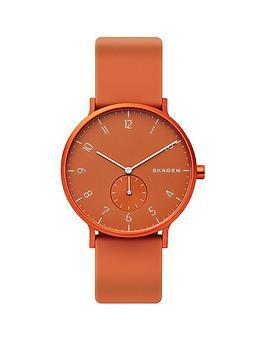 skagen-skagen-aaron-orange-dial-orange-silicone-strap-watch