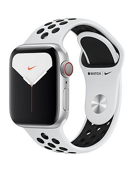 Apple   Watch Nike Series 5 (Gps + Cellular), 40Mm Silver Aluminium Case With Pure Platinum/Black Nike Sport Band