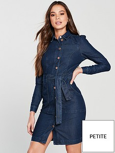 v-by-very-petite-tie-waist-denim-dress