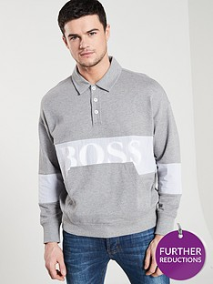 boss-casual-polo-sweat-top-grey