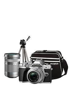 olympus-om-d-e-m10-mk-iii-compact-system-camera-traveller-kit-silver-inc-14-42mm40-150mm-tripod-bag