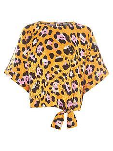 river-island-girls-yellow-leopard-print-tie-front-top