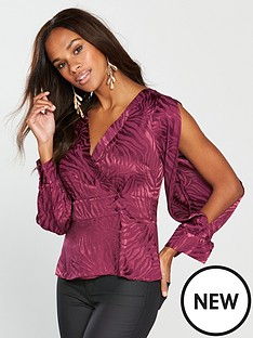 v-by-very-jaquard-wrap-blouse