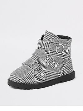 river-island-mini-girls-checked-circle-buckle-flat-boot-monochrome