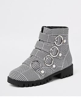 river-island-girls-check-circle-buckle-boots-black
