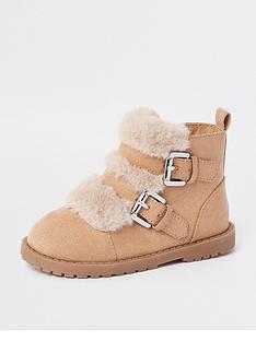 river-island-mini-girls-beige-faux-fur-double-strap-boots