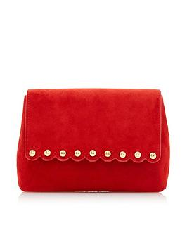 dune-london-beea-small-scallop-stud-suede-clutch-red