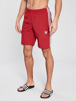 fd68569308636 adidas Originals 3 Stripe Swim Shorts - Red | littlewoods.com