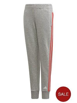 adidas-girls-3-stripe-pants-grey-heather