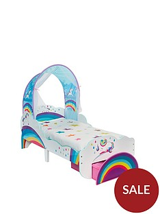 worlds-apart-unicorn-and-rainbow-toddler-bed-with-canopy-and-storage