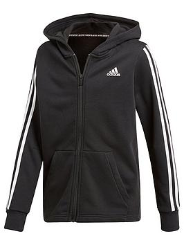 Adidas   Boys 3 Stripe Full Zip Hoodie - Black