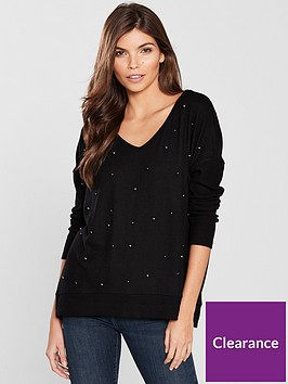 river-island-river-island-pearl-detail-jersey-top-black