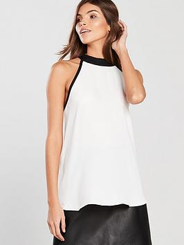 river-island-river-island-halter-neck-pearl-detail-woven-top-white