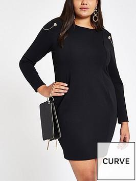 ri-plus-ri-plus-shoulder-detail-bodycon-dress-black