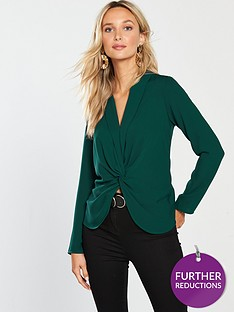 river-island-twist-front-blouse-green