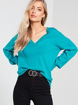 v-by-very-v-neck-blouson-sleeve-slouch-jumper-jade-green