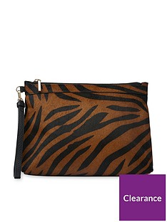 whistles-animal-print-leather-chester-zip-pouch-bag-brownblack